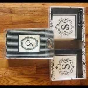 """Two sets of """"S"""" monogrammed napkins"""